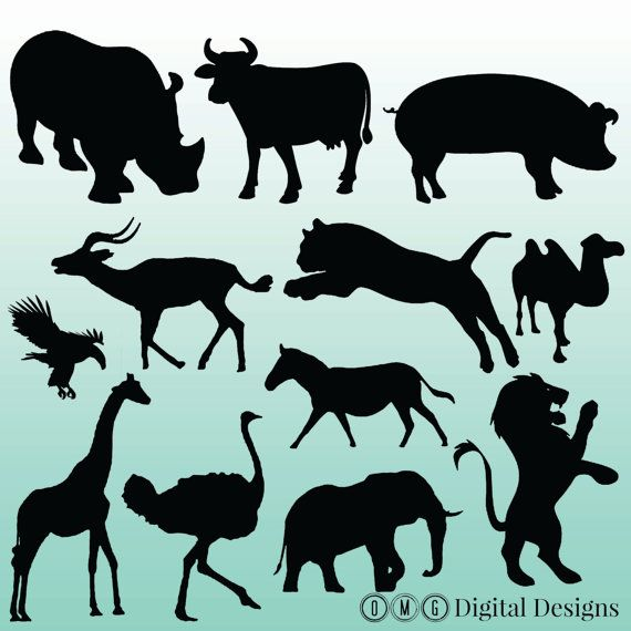animal silhouettes digital. African clipart design