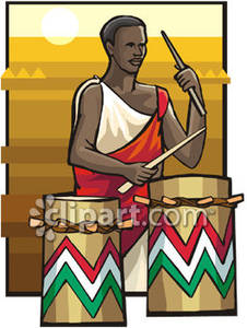 Man playing drums at. African clipart drum african