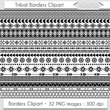 Tribal borders geometric native. Aztec clipart border