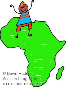 Clipart Illustration of a Little Ethnic Boy Standing on a Map of Africa