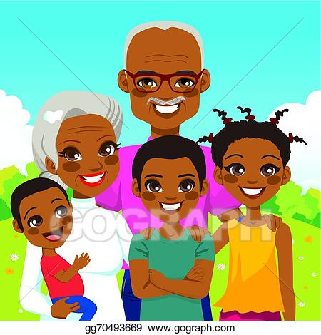 Vector illustration american grandparents. African clipart grandmother