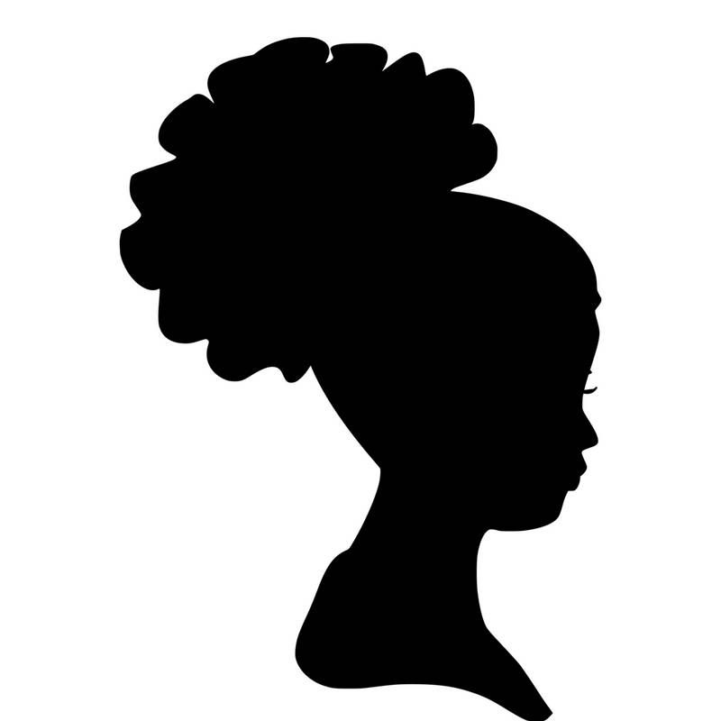 Headwrap woman silhouette svg. African clipart head