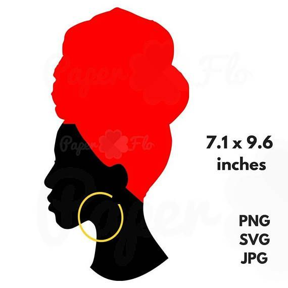 African clipart head. Headwrap svg silhouette clip