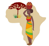 African clipart head. Woman holding pot on