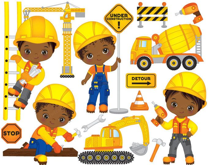 African clipart kid african. Construction boys vector american
