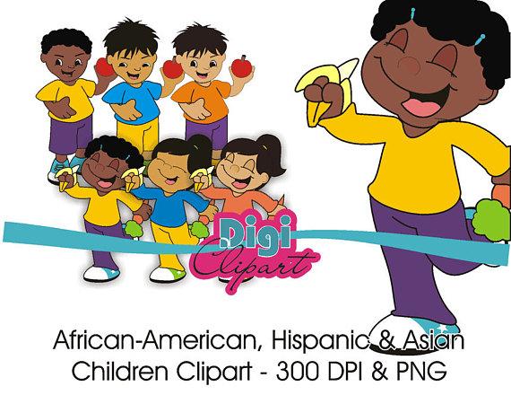 Asian american hispanic children. African clipart kid african