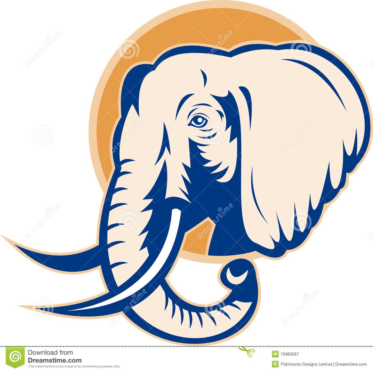 Bull elephant head panda. African clipart logo