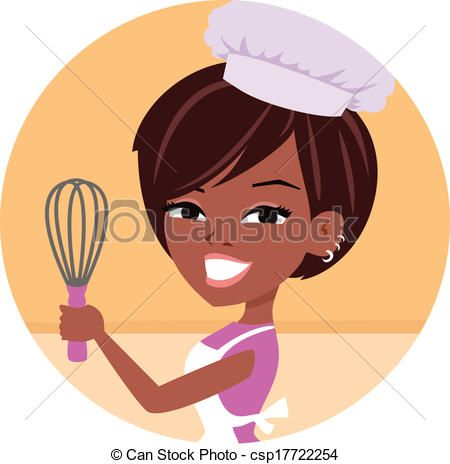 Vector woman baker chef. African clipart logo