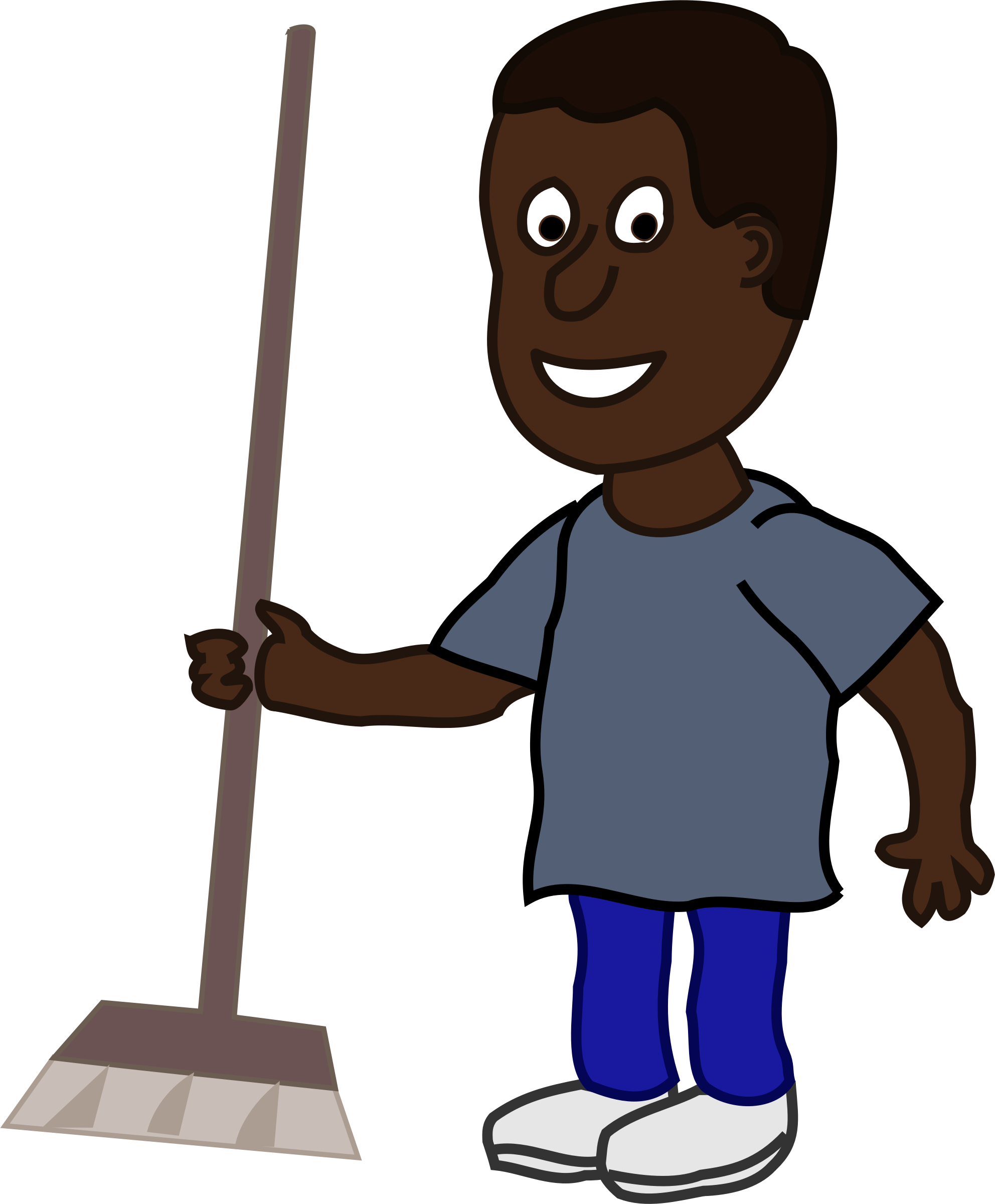 With broom big image. African clipart man african