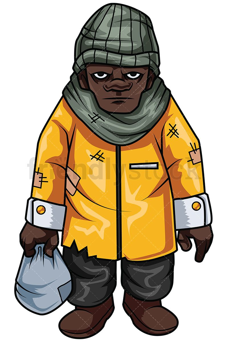 Homeless american vector cartoon. African clipart man african
