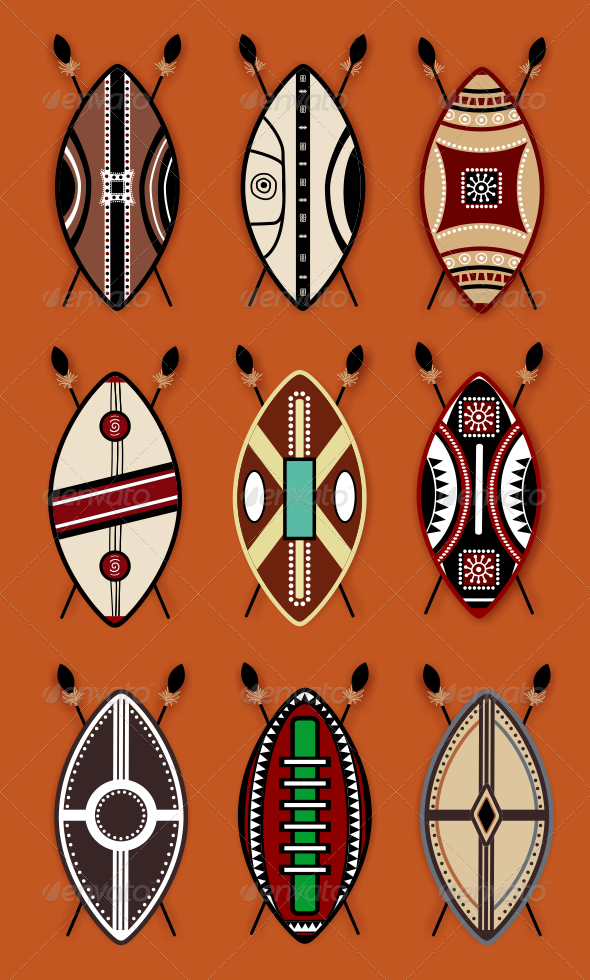 African clipart masai. Shield vector designs by