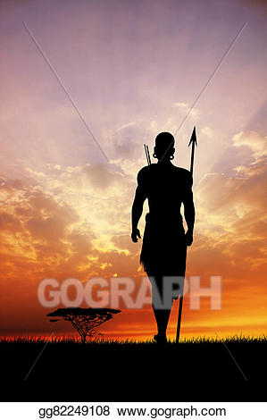 Stock illustration silhouette in. African clipart masai
