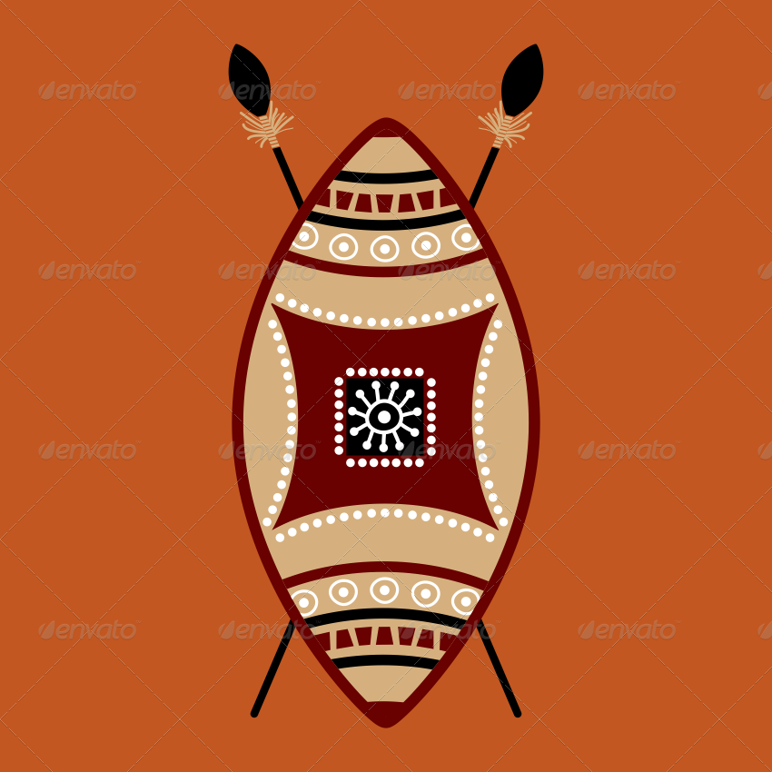 African clipart masai. Shield vector designs multi
