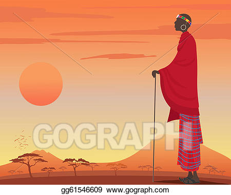 Vector art man drawing. African clipart masai
