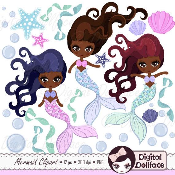 Black american art clip. African clipart mermaid