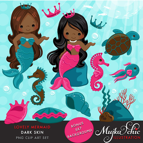 Lovely little dark skin. African clipart mermaid