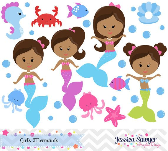 Instant download and vectors. African clipart mermaid