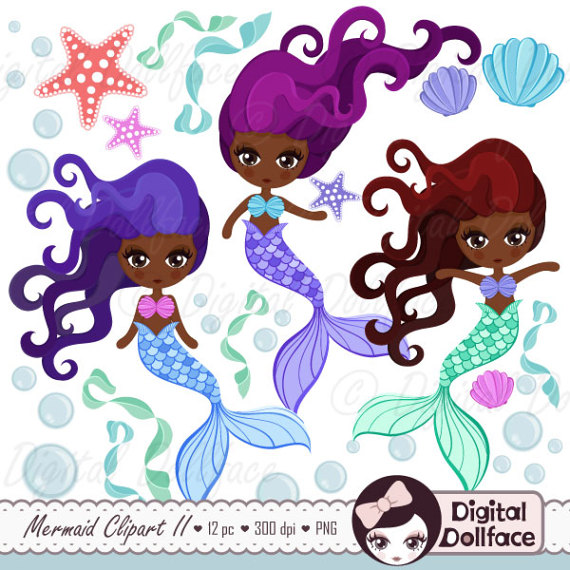 American black girl art. African clipart mermaid
