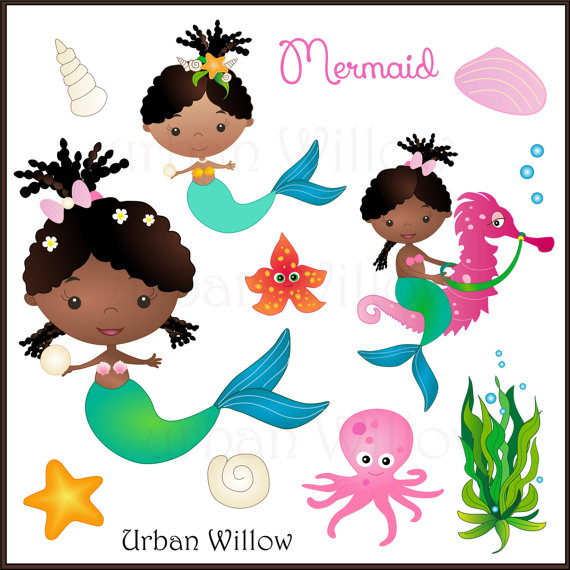 American cute girl on. African clipart mermaid