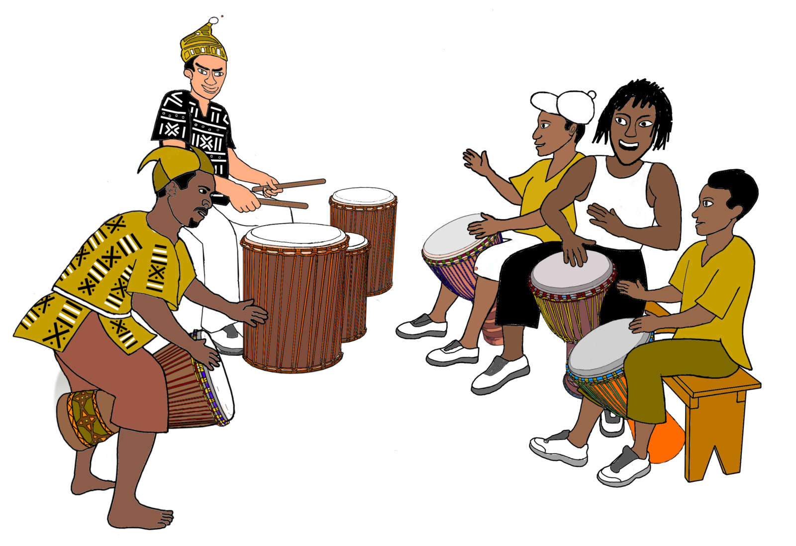 Recognize the unique music. Clipart hand drumming