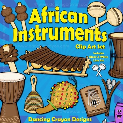 Musical instruments of africa. African clipart music african