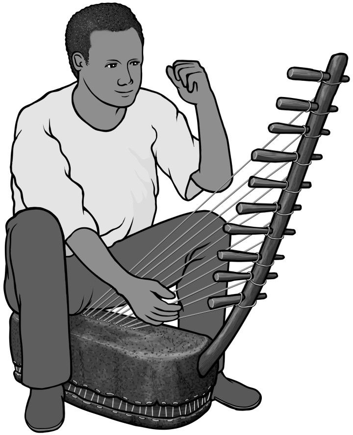 African clipart musical instrument. Grayscale images adungu player