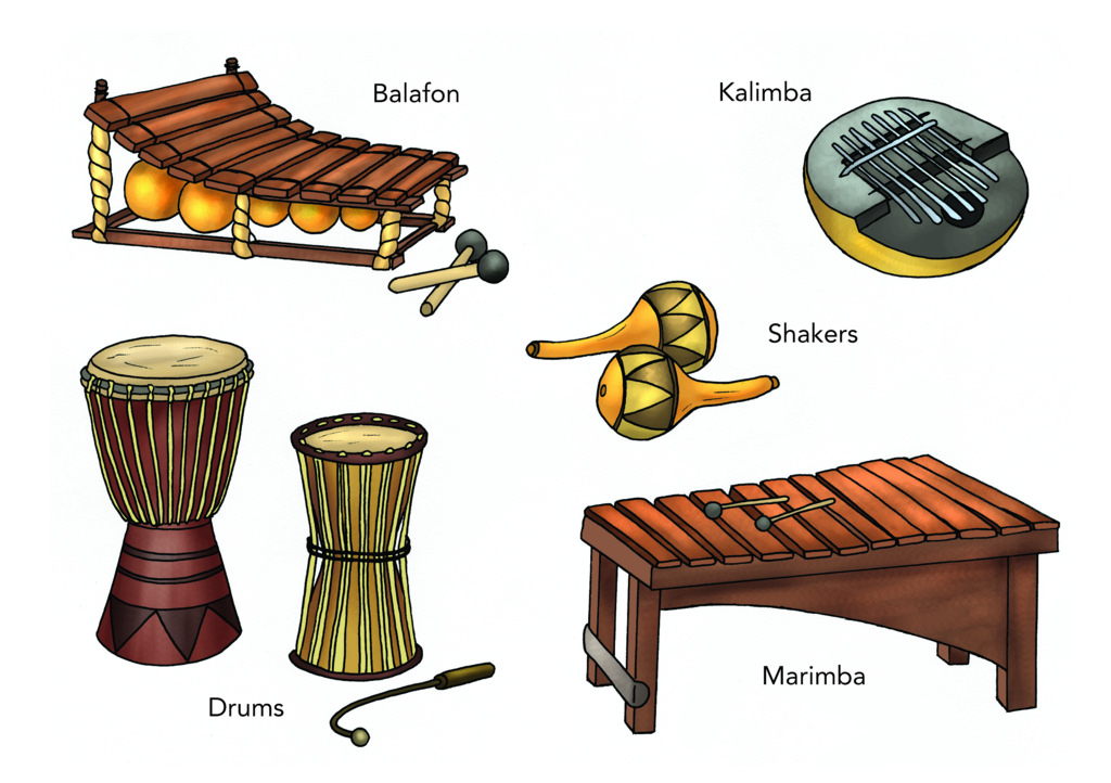 Sound instruments illustration used. African clipart musical instrument