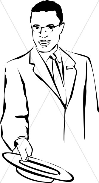 African american usher church. Afro clipart male