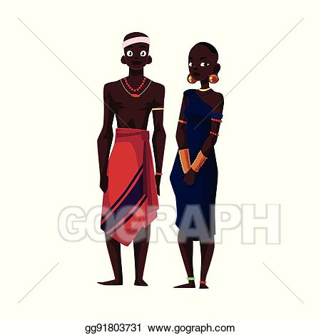 Vector native black aboriginal. African clipart person african
