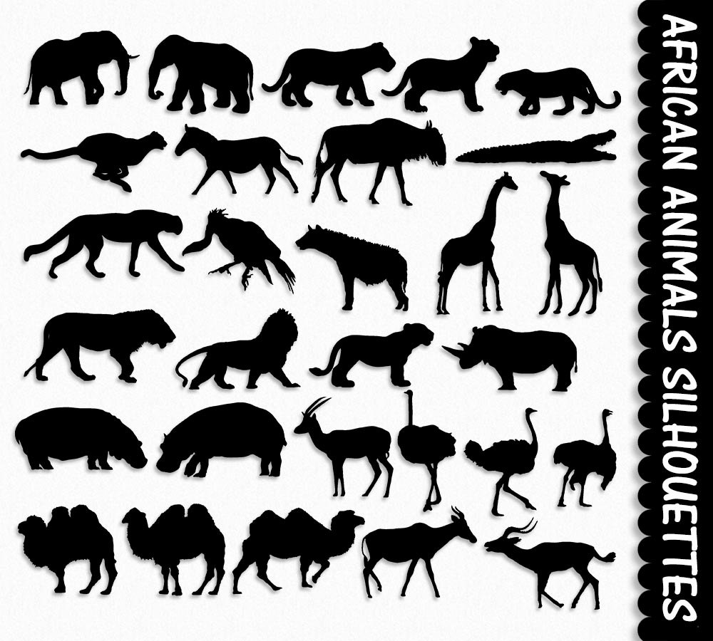 Africa animals clip art. African clipart silhouette