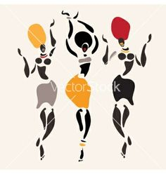 African clipart silhouette. Dancers set download from