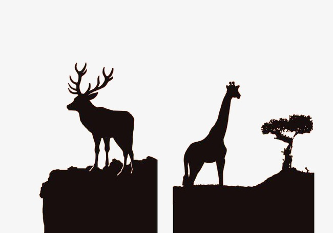 African clipart simple. Wildlife silhouette animal sketch