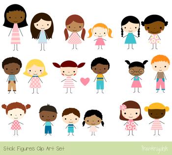 Cute children multinational multiracial. African clipart stick figure