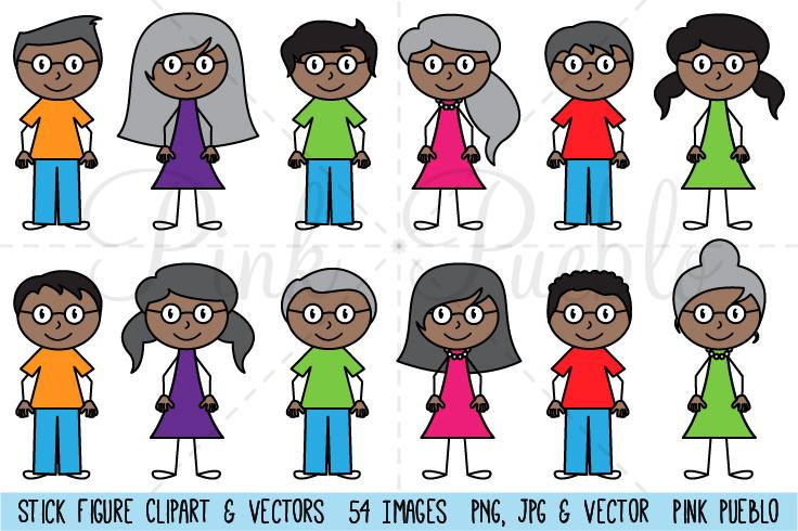 African clipart stick figure. American family pinkpueblo