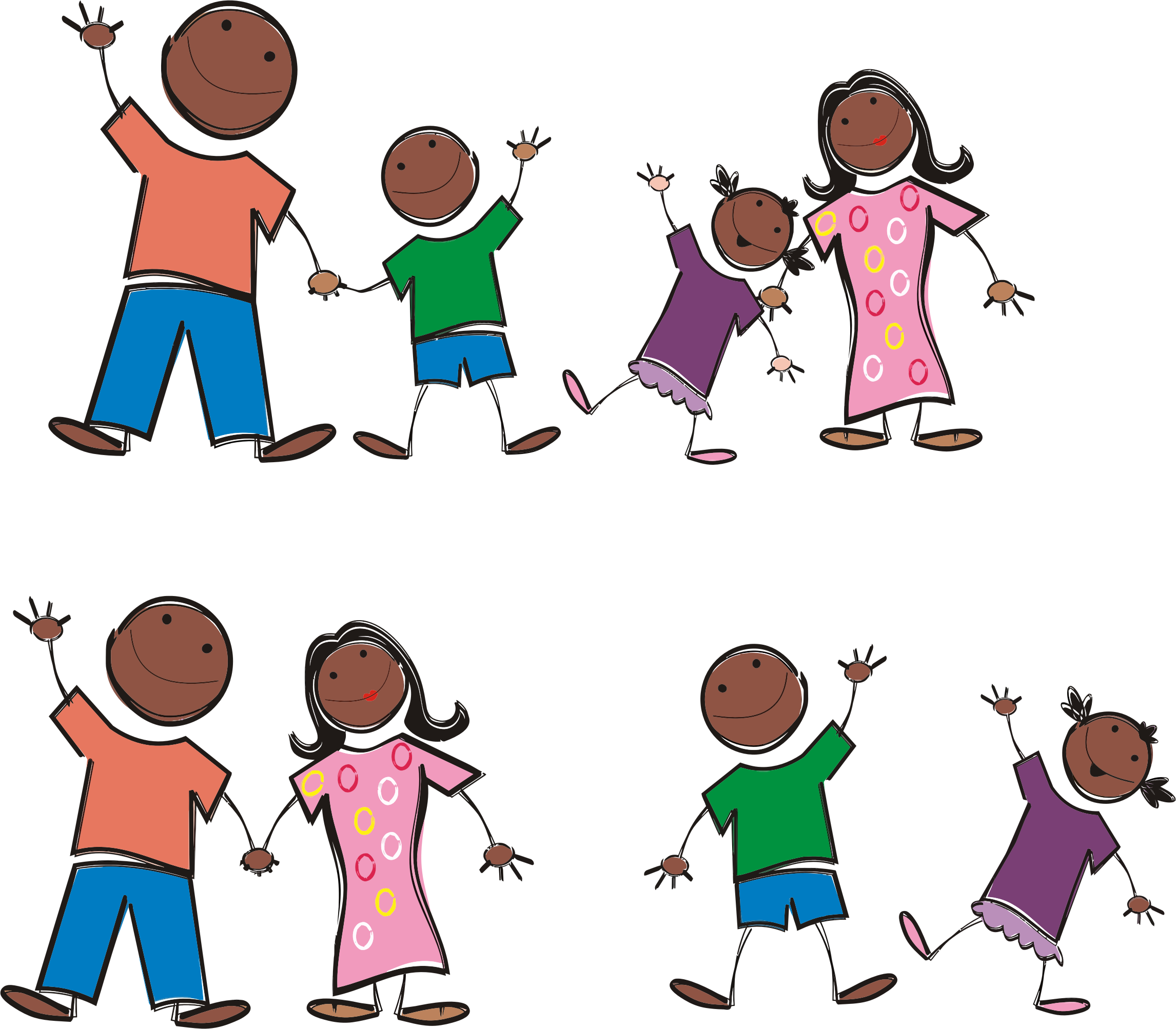 Black stick figure family. Person clipart printable