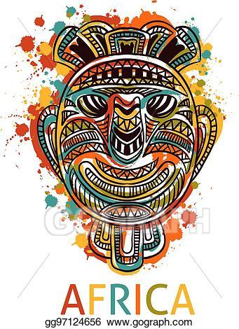 African clipart symbol. Vector tribal mask illustration
