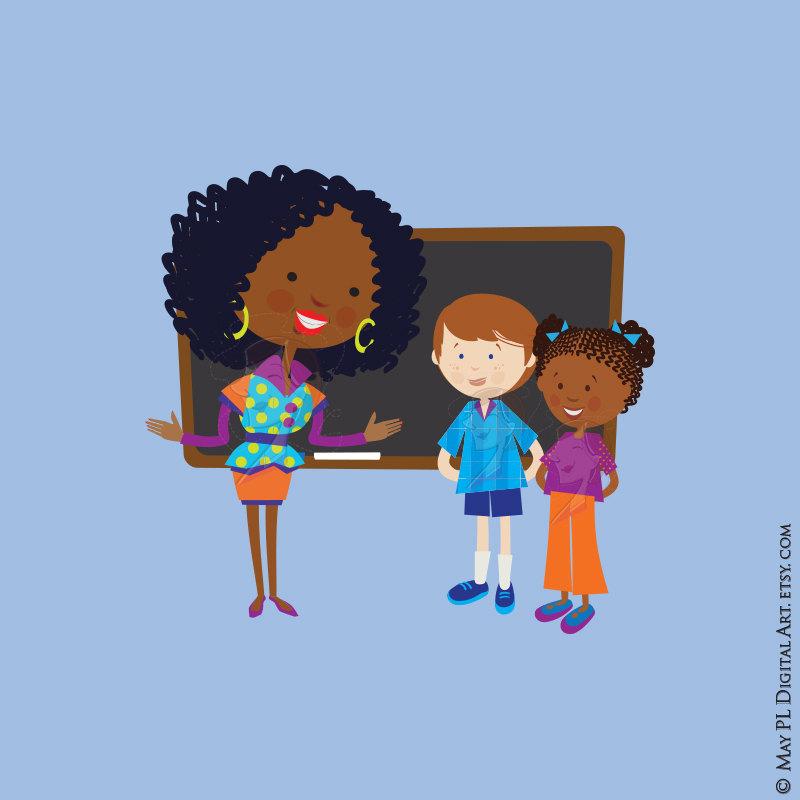 Cute school children listen. African clipart teacher