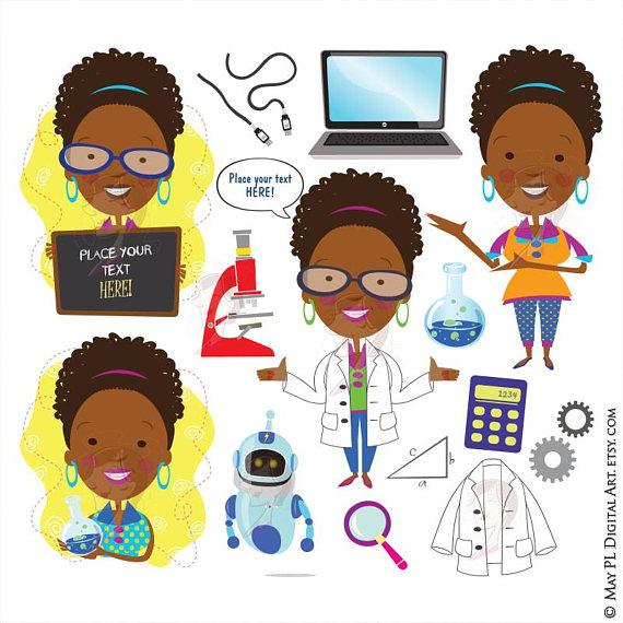 African clipart teacher. Science scientist american woman