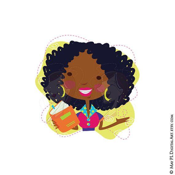 American books cute whimsical. African clipart teacher