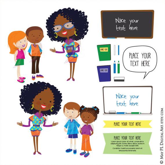 African clipart teacher. Cute school children listen