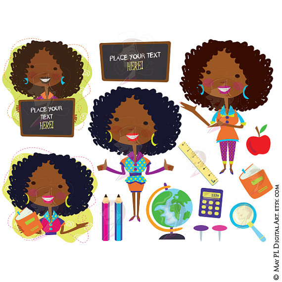 Classroom clip art american. African clipart teacher