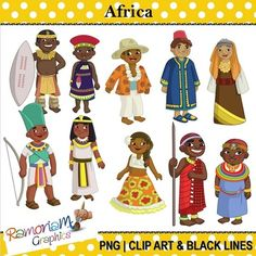 Children of the world. African clipart traditional