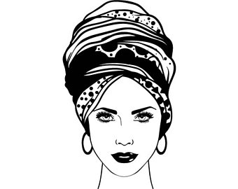 African clipart turban. Black woman etsy nubian