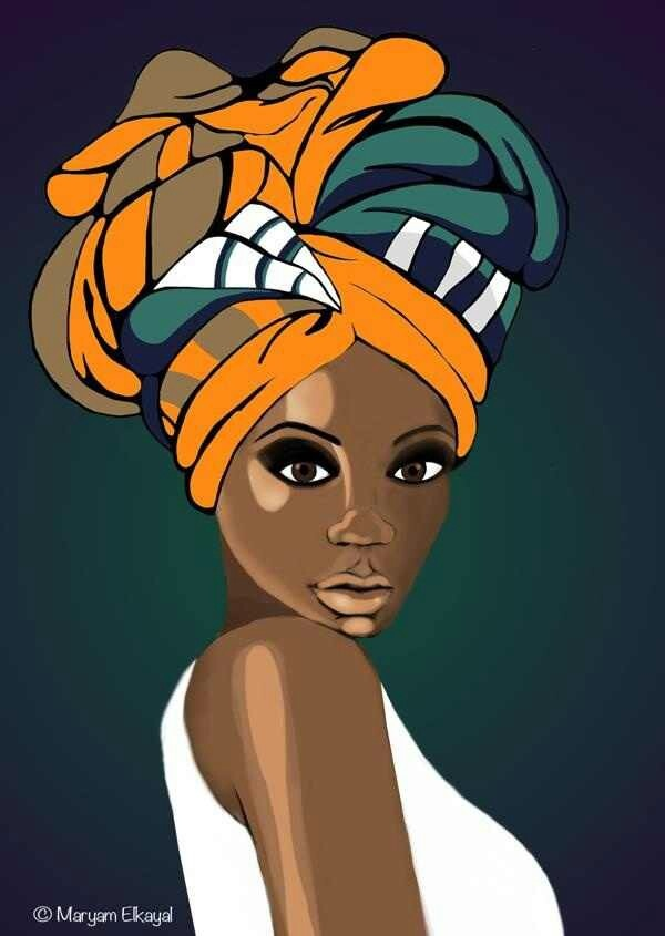 collection of head. African clipart turban