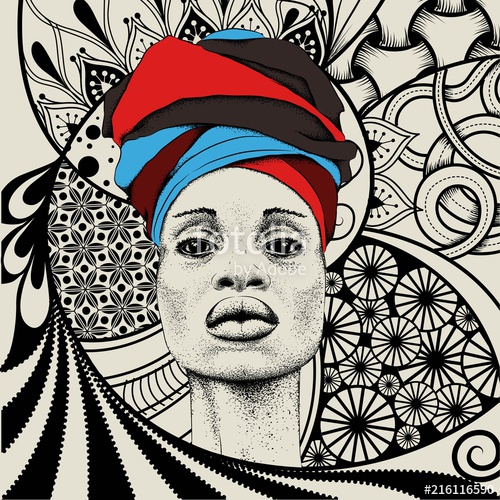 Woman with in tribal. African clipart turban