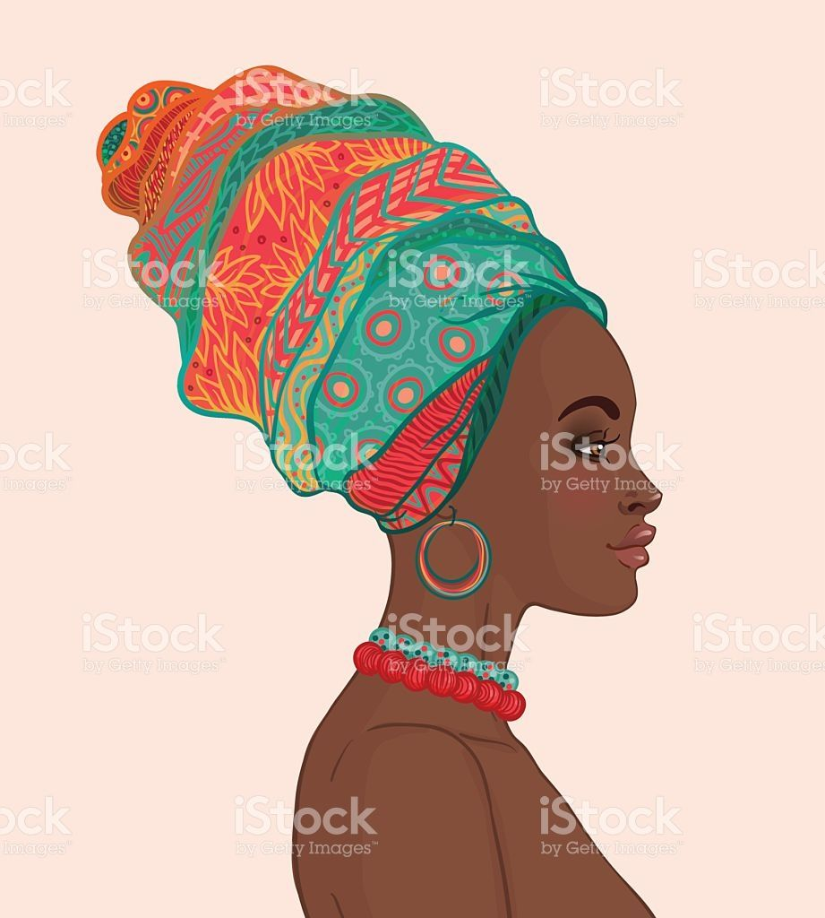 Portrait of beautiful woman. African clipart turban