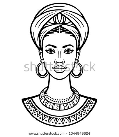 African clipart turban. Animation portrait of the