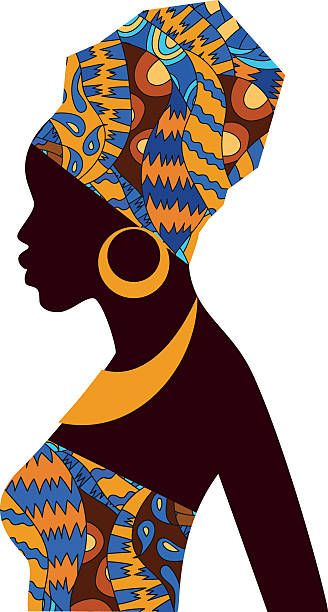 Silhouette of girls in. African clipart turban