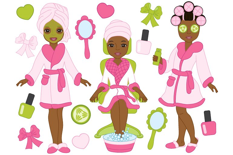 African clipart vector. American spa girls illustrations