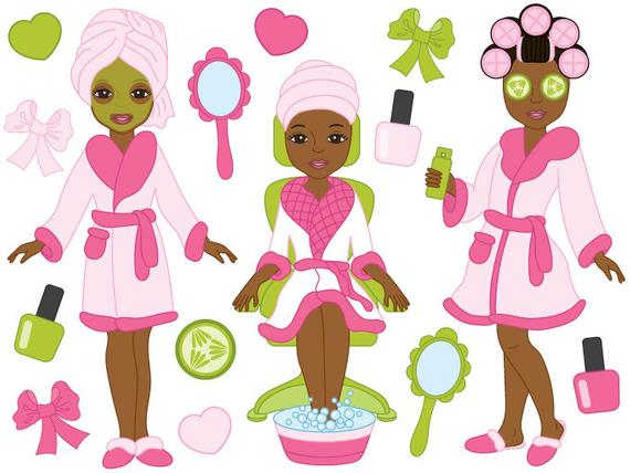 African clipart vector. American spa girls digital